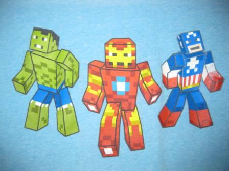 Marvel Minecraft (Light Blue) - L Shirt