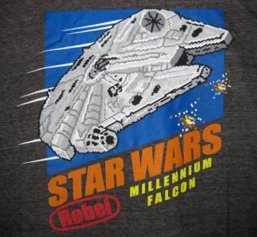 Star Wars - Millennium Falcon Rebel 8-Bit (Black) - L Shirt