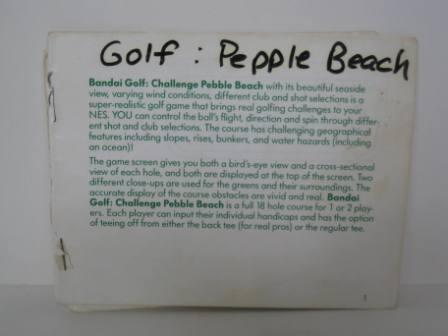 Bandai Golf Challenge Pebble Beach - NES Manual