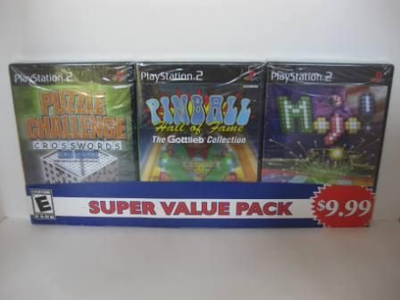 Puzzle Challenge/Pinball/Mojo! 3 Pack (SEALED) - PS2 Game