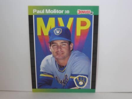 Paul Molitor MVP #BC-9 1989 Donruss Baseball Card